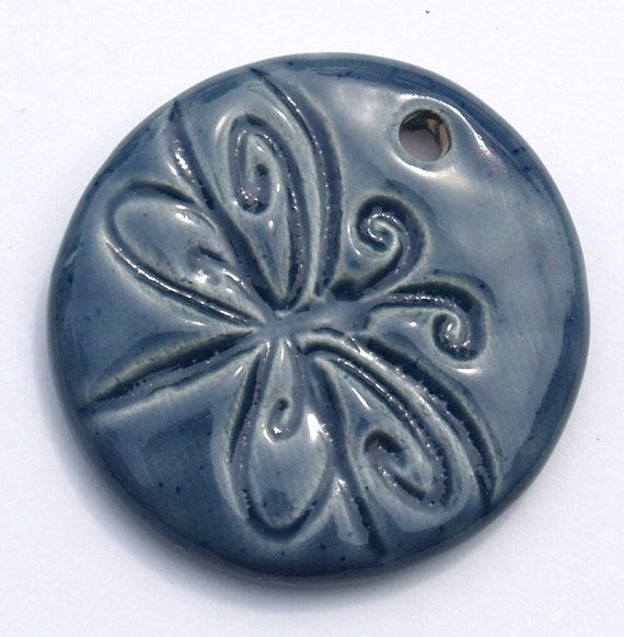 Dragonfly Pottery Pendant in DENIM Ceramic Pendant by Clay Designs by glee