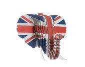 Flag Print Eyan Jr - Medium Cardboard Elephant Head - Union Jack