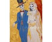 Original painting, Day of the Dead, Oil painting, skeleton wedding, skeleton bride, gothic wedding gift, Halloween decor,