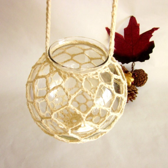 Geometric Honeycomb Crocheted Hanging Candle Holder GlobeLlantern