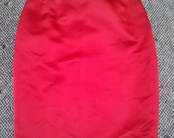 Sale //// Lady in Red/////vtg 90's Galanos Sample Cherry Red Satin Wiggle Pin Up Glam Holiday Party New Years Eve Pencil Skirt///sz 0