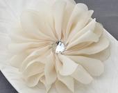 3 Ivory Chiffon Flower Soft Fabric Silk Rhinestone Ballerina Twirl Flower Bridal Wedding Baby Hair Comb Pin Headband SF111