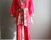 60s Bergdorf's silk KIMONO SET with top and pants size medium
