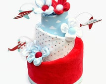 """Airplane Diaper Cake, """"Time To Fly"""" Baby Boy Shower Gift or Decoration, Airplane Baby Shower, Topsy Turvy Style, Unique Baby Boy Gift,"""