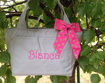 Monogrammed Grey Insulated Lunch Bag Box Silver Cooler Personalized Back to School 2016