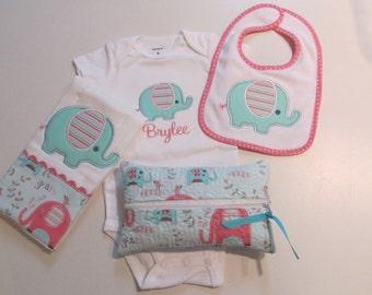 Babies, Baby Girl Bib, Burpcloth,Onesie and Wipes Case Set with Baby Elephant Applique