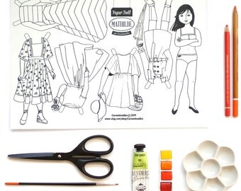 Paper Doll ~ Mathilde ~ a jpeg file to download, print, color, cut and play with !