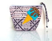 Ice Cream Cone - PAISLEY Zippered Pouch - Sprinkles & Sweets Summer Treat - OOAK