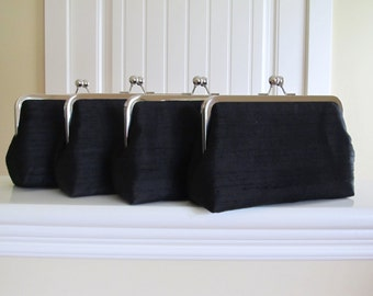 SALE, 15% Off, Classic Black Silk Clutch,Set Of 4,Bridal Accessories,Bridesmaid Clutches,Bridesmaid Gifts,Wedding Clutch