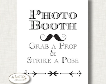 Photobooth sign - printable black and white