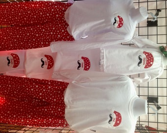 GreatStitch Mustache Christmas Pajamas One Child