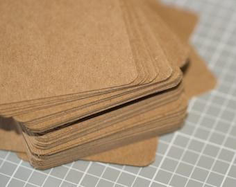 Chipboard ATC / ACEO Blanks (50) ... Medium Weight Rounded Corners Art Cards Kraft Art Supplies Assemblage Recycled Thick Artist Supply