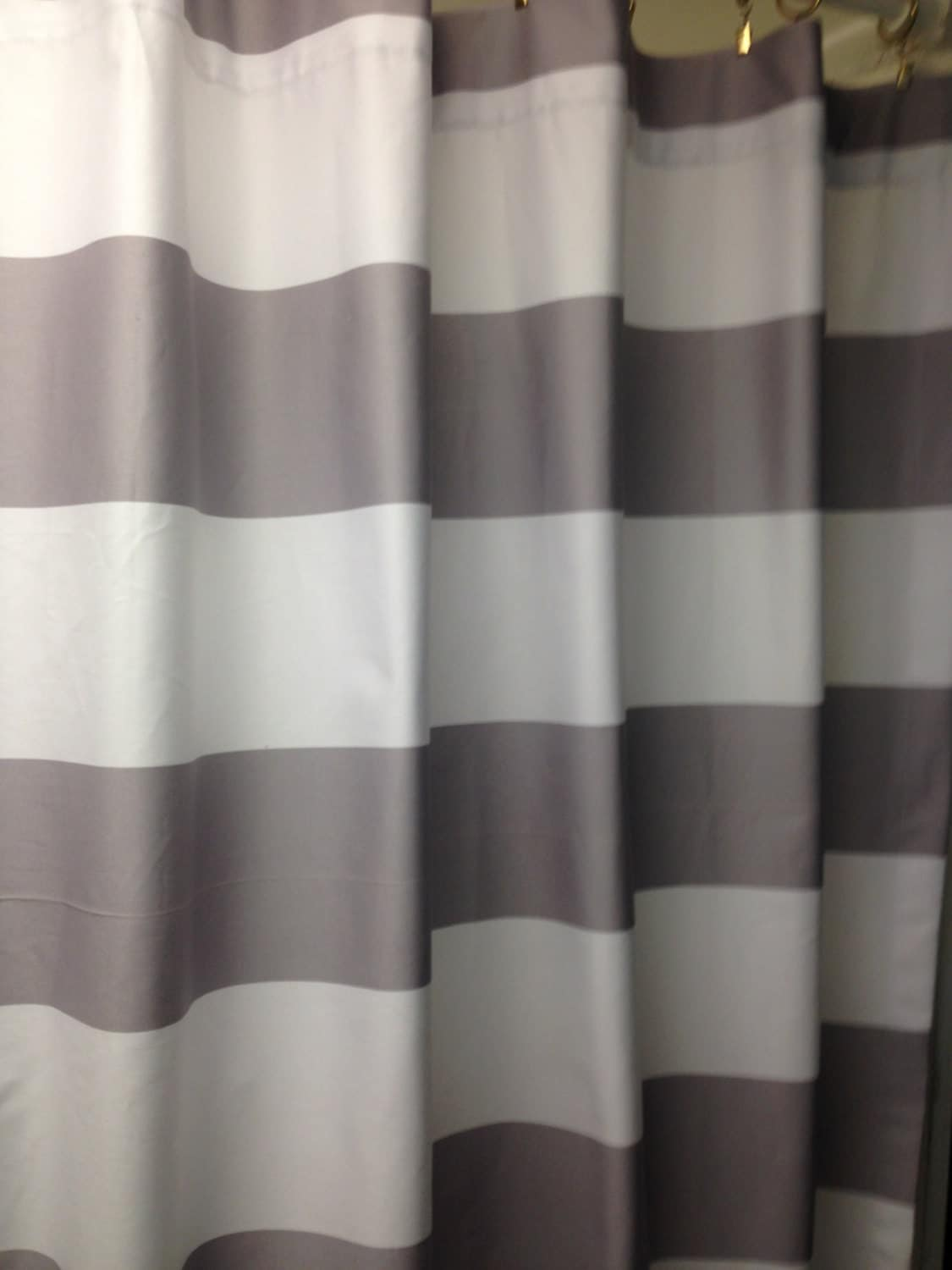 Horizontal 3 Stripe Shower Curtain Grey And White