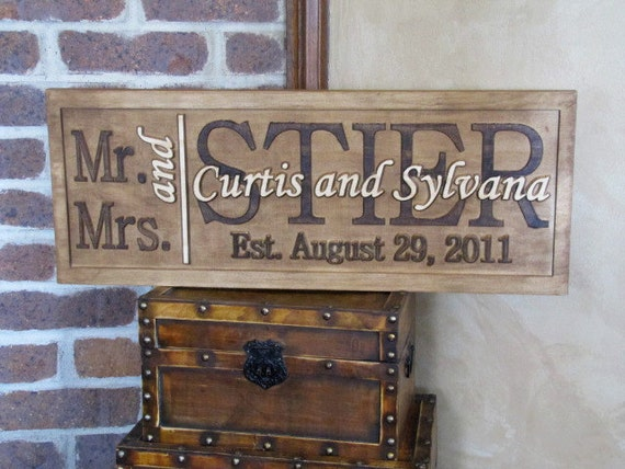 Personalized Family Name Signs Custom Wedding Gift CARVED