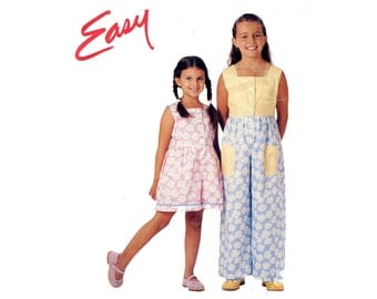 Easy Girls Play Clothes Pattern Loose Fitting Summer Romper Jumpsuit Front Button Square Neck McCalls 9151 Size 2 3 4 5 6 Sewing Pattern