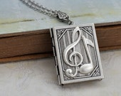 silver locket necklace, THE G-CLEF, music notes necklace, music lover locket, book locket, gift for musician
