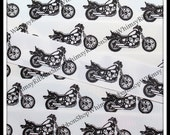 1, 2, 3, 4 or 5 yards 7/8 Black / White motorcycles on WHITE Grosgrain Ribbon for hair bow clips sewing dog collars scrap booking fobs