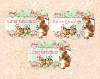 Easter Sticker Seals Rabbit & Chicks LG Size