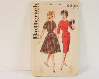 Vintage 1960s Butterick 9398 Misses' Dress Sewing Pattern size 14
