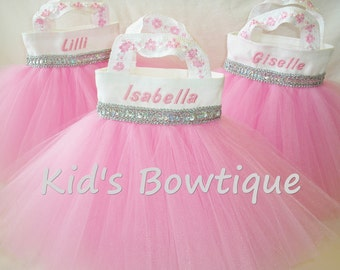 2 Personalized Flower Girl Purses - Tutu Gift Bags- Baby Pink Silver Party Favor Tutu Bags