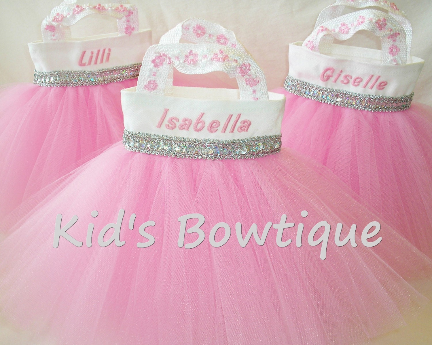2 Personalized Flower Girl Purses Tutu Gift Bags Baby Pink