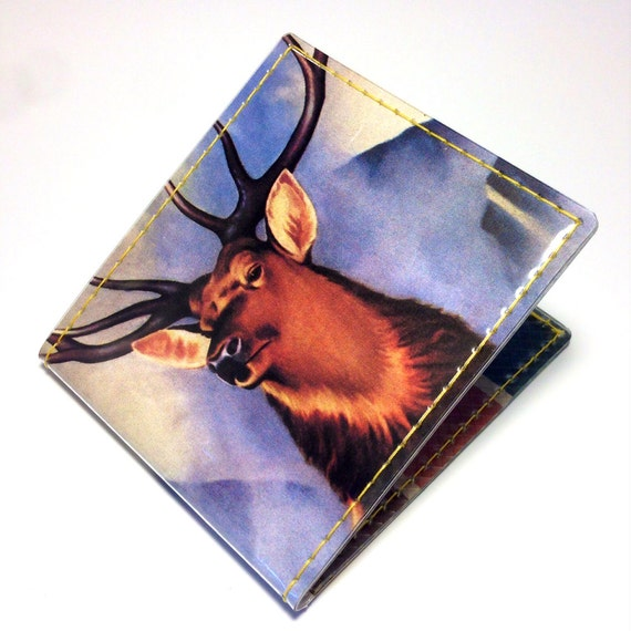 Vintage Style Vinyl Billfold Wallet - Venison with Apricots