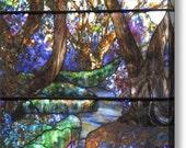 Garden of Gethsemane - 16 x 24 Fine Art Canvas Print of Stained Glass Window, Garden, Wall Art, Home Decor, Gift