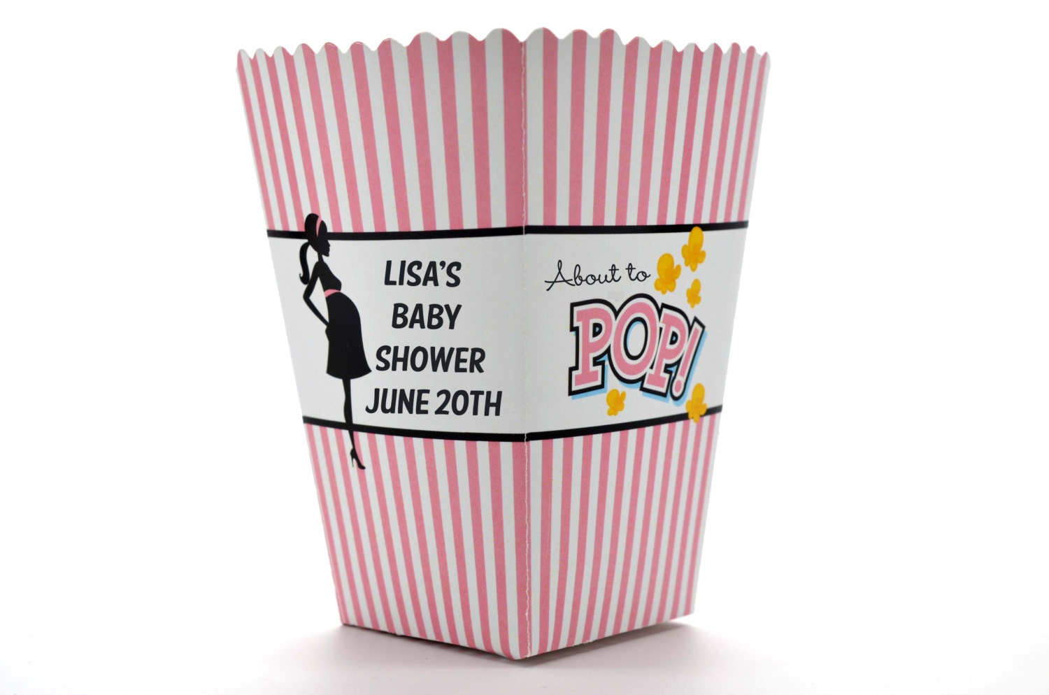 pink about to pop personalized baby shower popcorn boxes
