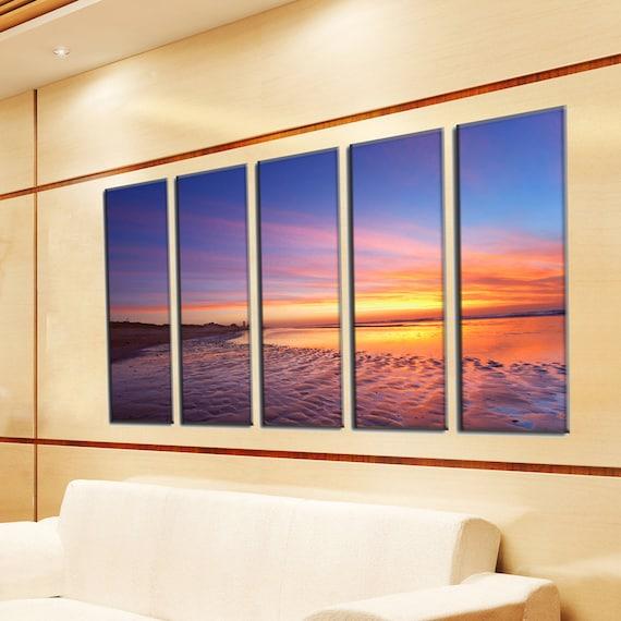 Large Canvas Prints - Beach Canvas Art  - Beach Photo Canvas - Sunset Wall Decor - Framed Ready to Hang - Ocean Theme Decor