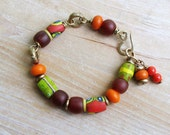 Red Tribal Trade Beads Bracelet, Ethnic Beaded Bracelet, Millefiori Beads Carnelian Lime Green African Brass Rings,  OOAK