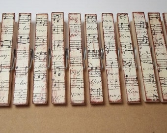 Primitive-Distressed Clothespins-set of 12-- Musical notes