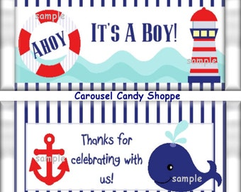 Nautical Blue Stripe Baby Boy Baby Shower Candy Bar Wrappers Instant Download Printable