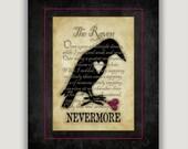 Nevermore, The Raven, Edgar Allan Poe, Valentine gift, anti Valentine, goth art gift, macabre art, library wall art, bibliophile gift, dark