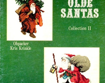 Olde Santas Collection II :Lantern Walking Stick Undecorated Tree Sack of Toys Counted Cross Stitch Embroidery Craft Pattern Leaflet L-9