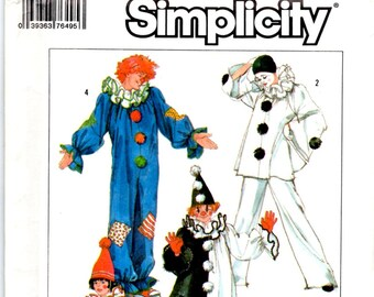 Clown Harlequin Costumes and Hats Pants Top Neck Ruffle Pom Pom Front Halloween Theater Uncut Sewing Pattern Child Sizes 6 8 Simplicity 7649