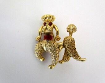 Vintage Prancing Poodle Pin With Red Rhinestone Eyes
