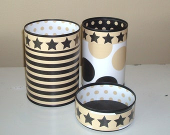 Desk Accessories, Pencil Holder Set, Desk Organization, Office Organization, Black and Tan, Geometric, Black Tan Stars Stripes Dots - 844