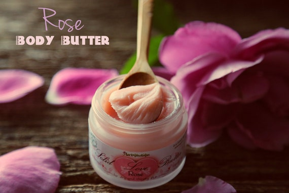 Organic Rose Body Butter. Solid Love. Vegan Natural with Shea butter and Coconut oil.