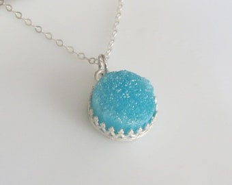 Sterling Silver Necklace, Blue Druzy Necklace, Gemstone Necklace, Crown Necklace, Pendant Necklace, Jewelry, Gift