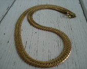 Vintage 1970's Art Deco Wide Gold Serpentine Chain 18 Inch Necklace