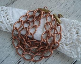 Vintage 1960's Copper Curb Link Three Strand 7 1/2 Inch Bracelet Warmth