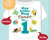 Boy's One Year Old Bug Birthday Shirt or Onesie with Name, 1st Birthday Shirt, Personalized Bug Birthday Theme (06202014a)