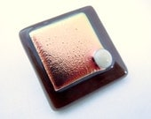 """Brown Button, Fused Glass Button, Art Button, brown, chocolate, gold, copper, salmon, dichroic, ivory, sewing, knitting supply, square, 1"""""""