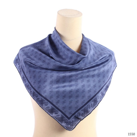 Blue Silk Scarf .Celtic Print Ornaments .Stormy Blue Neck Scarf . Hand Rolled Edges