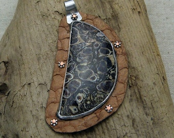 Turtella Jasper and Leather Pendant