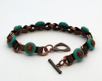 Copper and Turquoise Hardware Bracelet - 8 1/2 inch