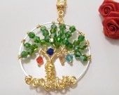 Mother's Grandmother's Custom Swarovski Crystal Tree of Life Necklace w Birthstone Charms