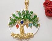 Mère de personnalisé arbre de vie collier en cristal Swarovski grand-mère w Birthstone Charms