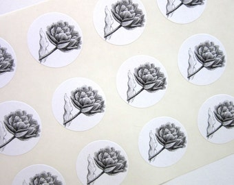 Tulip Flower Stickers One Inch Round Seals