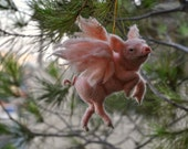 Needle felted animal. PIGASUS. Christmas tree Ornament.  Made to order
